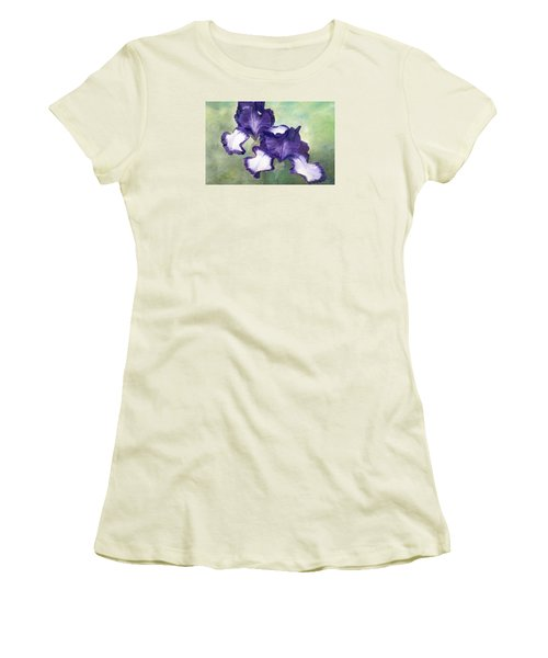 Irises Duet In Purple Flowers Colorful Original Painting Garden Iris Flowers Floral K. Joann Russell Women's T-Shirt (Athletic Fit)