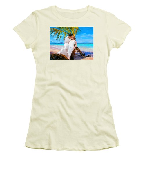 Women's T-Shirt (Junior Cut) featuring the painting Island Honeymoon by Tim Gilliland
