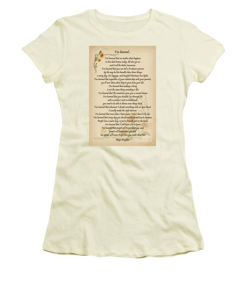 I've Learned Women's T-Shirt (Junior Cut) by Olga Hamilton