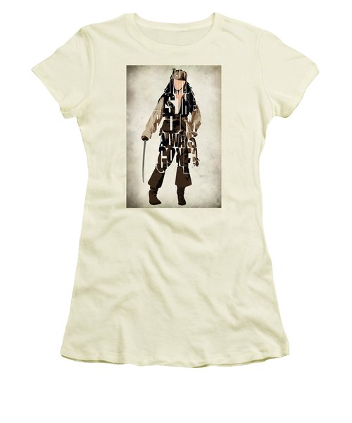 Jack Sparrow Inspired Pirates Of The Caribbean Typographic Poster Women's T-Shirt (Junior Cut) by Ayse Deniz