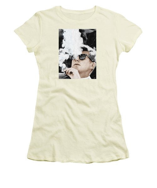 John F Kennedy Cigar And Sunglasses Women's T-Shirt (Athletic Fit)