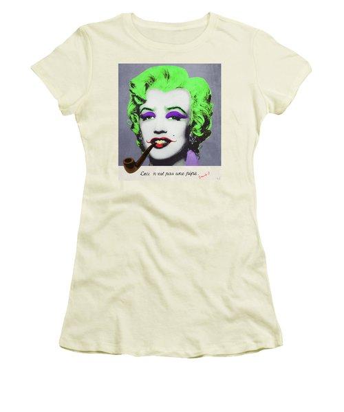 Joker Marilyn With Surreal Pipe Women's T-Shirt (Junior Cut) by Filippo B