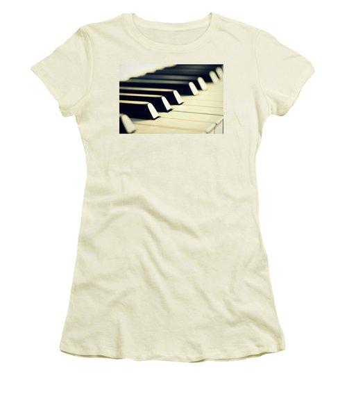 Keyboard Of A Piano Women's T-Shirt (Junior Cut) by Chevy Fleet