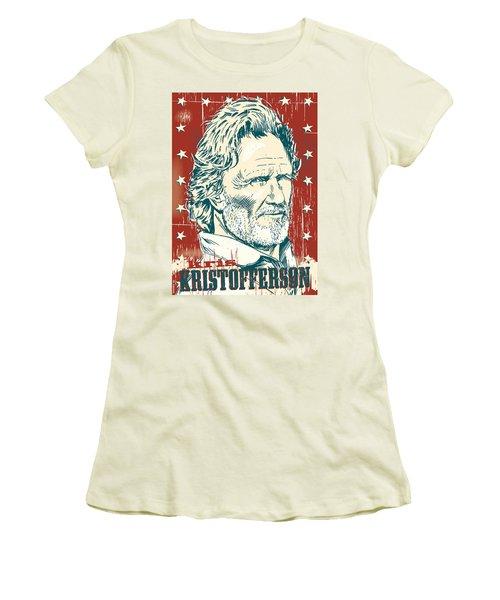 Kris Kristofferson Pop Art Women's T-Shirt (Junior Cut) by Jim Zahniser