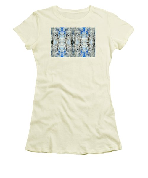 Lacy Winter Trees Abstract Art Photo Women's T-Shirt (Junior Cut) by Marianne Dow
