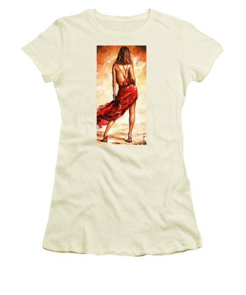 Lady In Red 40 Women's T-Shirt (Junior Cut) by Emerico Imre Toth