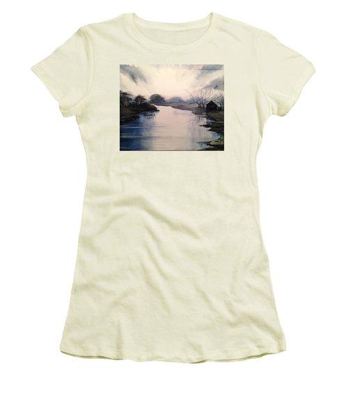 Lake Sunset Women's T-Shirt (Junior Cut) by Alban Dizdari