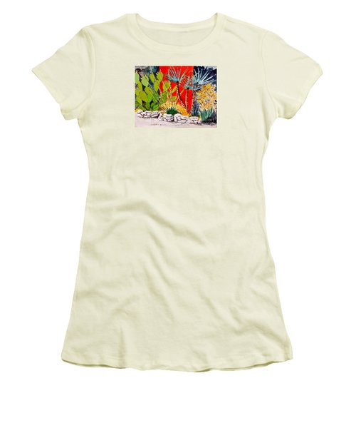 Lake Travis Cactus Garden Women's T-Shirt (Junior Cut) by Fred Jinkins