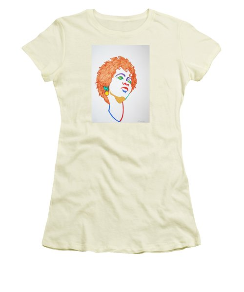 Women's T-Shirt (Junior Cut) featuring the painting Lauryn Hill  by Stormm Bradshaw