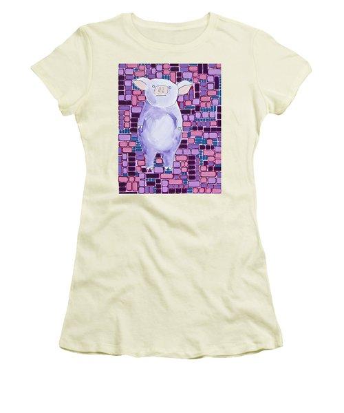 Lavender Piglet Women's T-Shirt (Athletic Fit)
