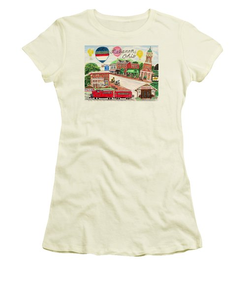 Women's T-Shirt (Junior Cut) featuring the painting Lebanon Ohio by Diane Pape