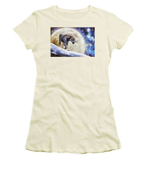 Women's T-Shirt (Junior Cut) featuring the painting Leopard Moon by Greg Collins