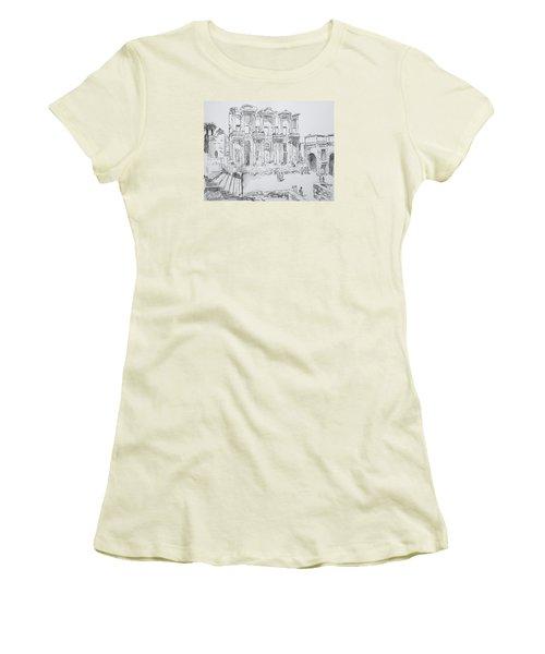Library At Ephesus Women's T-Shirt (Junior Cut) by Marilyn Zalatan