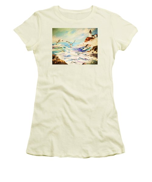 Lighthouse Gulls And Waves Women's T-Shirt (Junior Cut) by Al Brown
