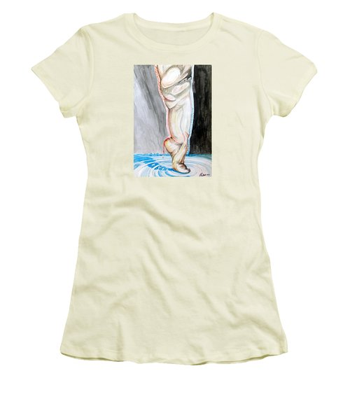 Women's T-Shirt (Junior Cut) featuring the painting Lightweight Of The Being Listen With Music Of The Description Box by Lazaro Hurtado