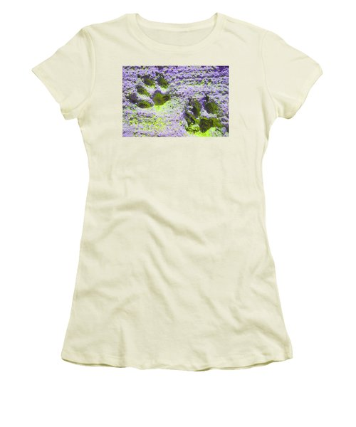 Lilac And Green Pawprints Women's T-Shirt (Athletic Fit)