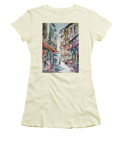 Women's T-Shirt (Junior Cut) featuring the painting Little Trip At Exotic Streets In Istanbul by Faruk Koksal