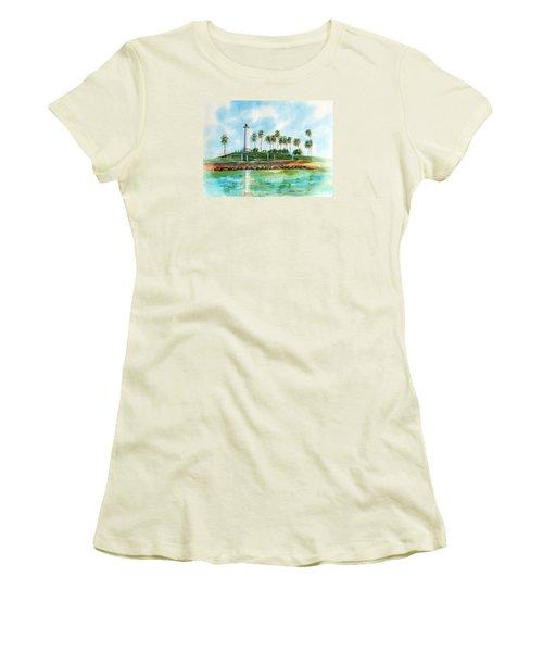 Long Beach Lighthouse  Version 2 Women's T-Shirt (Junior Cut) by Debbie Lewis