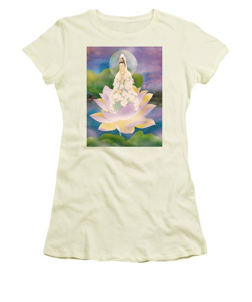 Lotus-sitting Avalokitesvara  Women's T-Shirt (Junior Cut) by Lanjee Chee