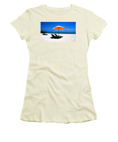 Women's T-Shirt (Junior Cut) featuring the photograph Lounging By The Sea by Joey Agbayani