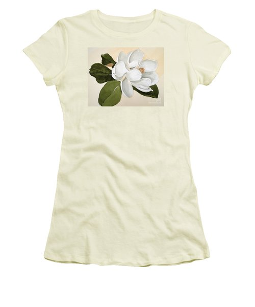 Women's T-Shirt (Junior Cut) featuring the painting Magnolia Bloom by Nancy Kane Chapman