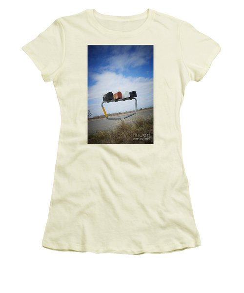 Women's T-Shirt (Junior Cut) featuring the photograph Mailboxes by Erika Weber