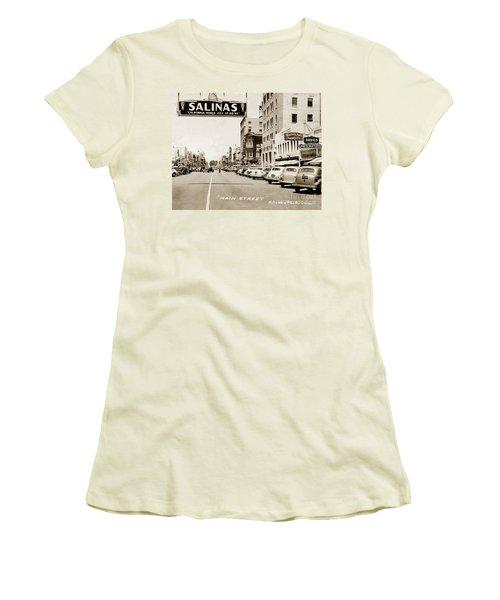Main Street Salinas California 1941 Women's T-Shirt (Junior Cut) by California Views Mr Pat Hathaway Archives