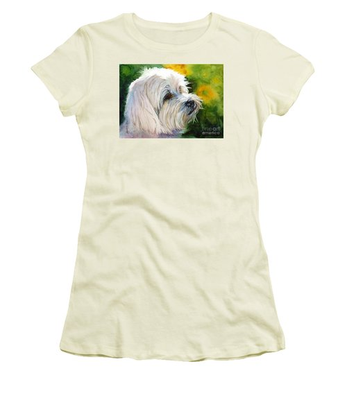 Women's T-Shirt (Junior Cut) featuring the painting Maltese by Bonnie Rinier