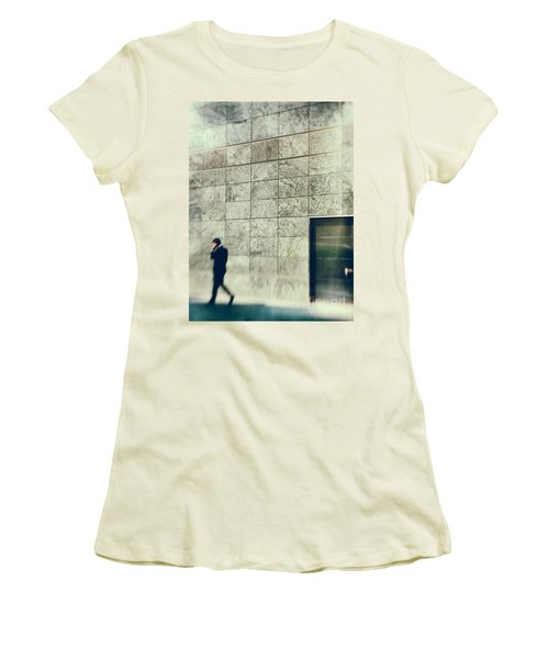 Women's T-Shirt (Junior Cut) featuring the photograph Man With Cell Phone by Silvia Ganora