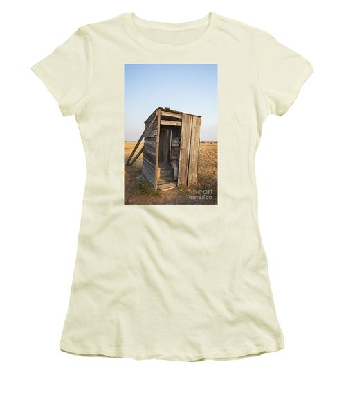 Mannequin Sitting In Old Wooden Outhouse Women's T-Shirt (Athletic Fit)