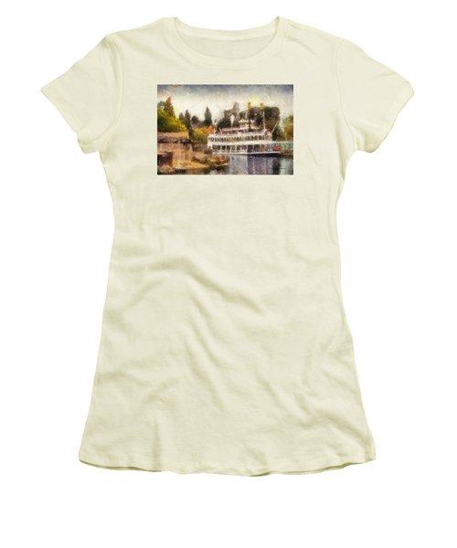 Mark Twain Riverboat Frontierland Disneyland Photo Art 02 Women's T-Shirt (Junior Cut) by Thomas Woolworth
