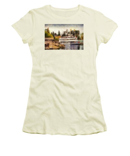 Mark Twain Riverboat Frontierland Disneyland Photo Art 02 Women's T-Shirt (Athletic Fit)