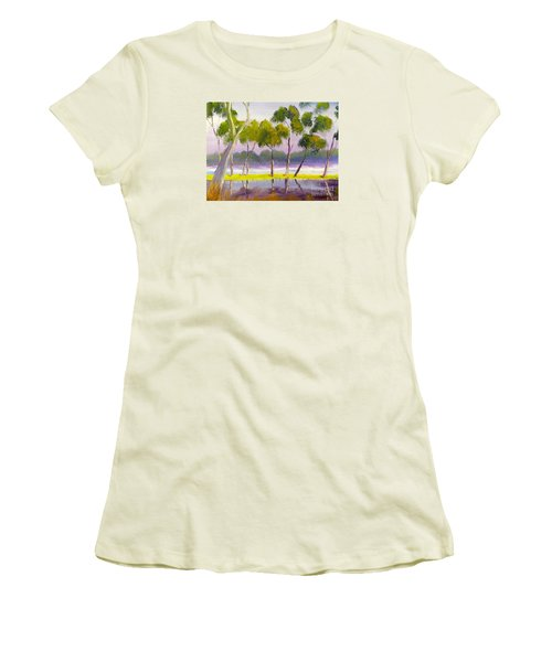 Women's T-Shirt (Junior Cut) featuring the painting Marshlands Murray River Red River Gums by Pamela  Meredith