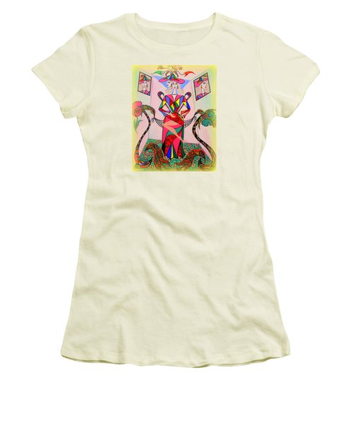 Women's T-Shirt (Junior Cut) featuring the painting Eleonore Sweet 16th by Marie Schwarzer