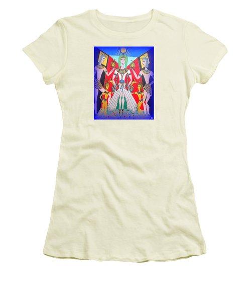 Women's T-Shirt (Junior Cut) featuring the painting Metamorphosis Of Melisa Into Nefertiti by Marie Schwarzer