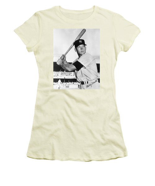 Mickey Mantle At-bat Women's T-Shirt (Athletic Fit)