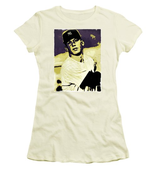 Mickey Mantle Poster Art Women's T-Shirt (Athletic Fit)