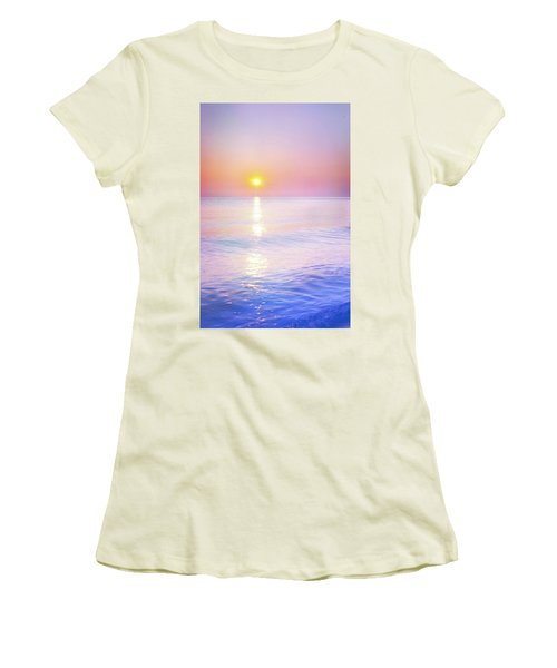 Women's T-Shirt (Junior Cut) featuring the photograph Milky Sunset by Lilia D