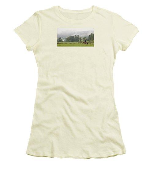 Misty Morning Ride Women's T-Shirt (Junior Cut) by Joan Davis