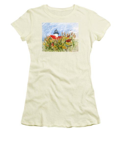Monarch Butterflies At East Point Light Women's T-Shirt (Athletic Fit)