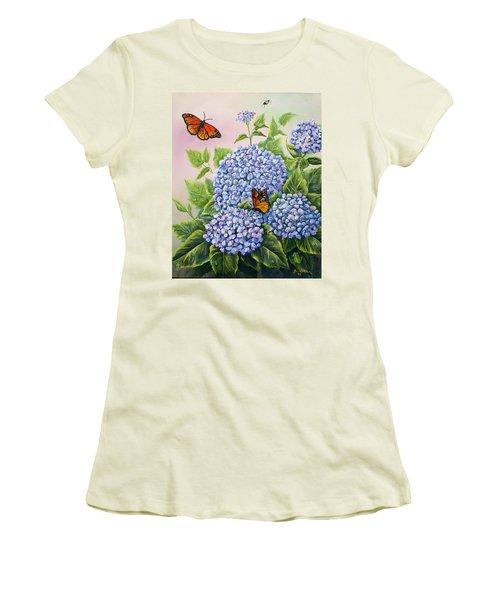 Monarchs And Hydrangeas Women's T-Shirt (Junior Cut) by Gail Butler