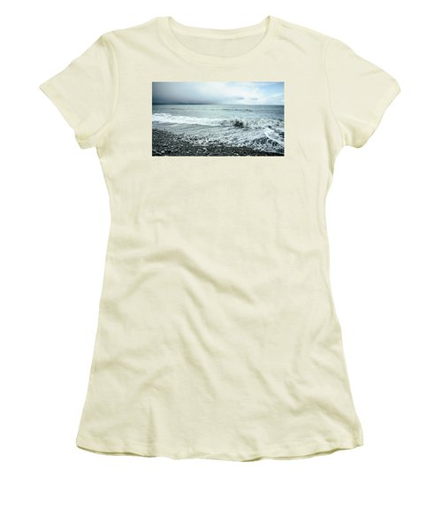 Moody Shoreline French Beach Women's T-Shirt (Athletic Fit)
