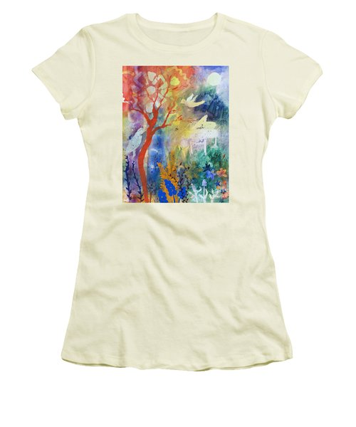 Women's T-Shirt (Junior Cut) featuring the painting Moonlight Serenade by Robin Maria Pedrero
