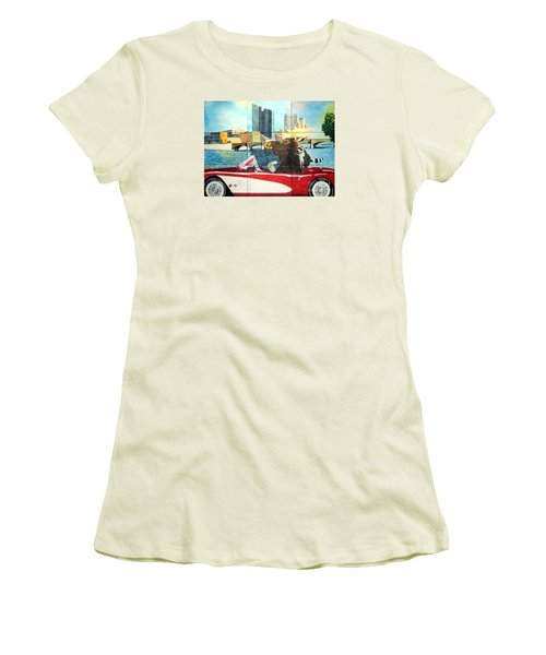 Moose Rapids Il Women's T-Shirt (Junior Cut) by LeAnne Sowa