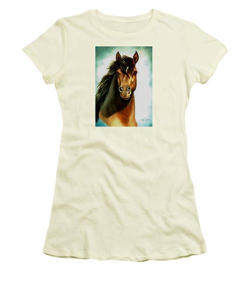 Women's T-Shirt (Junior Cut) featuring the painting Morgan Horse by Loxi Sibley