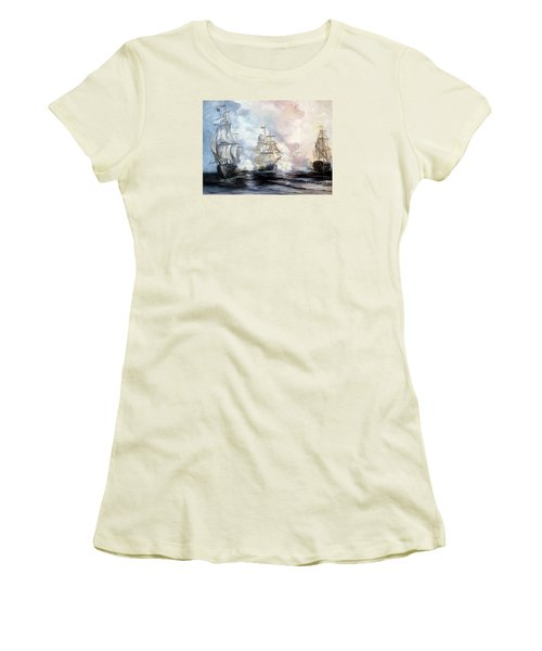 Women's T-Shirt (Junior Cut) featuring the painting Morning Battle by Lee Piper