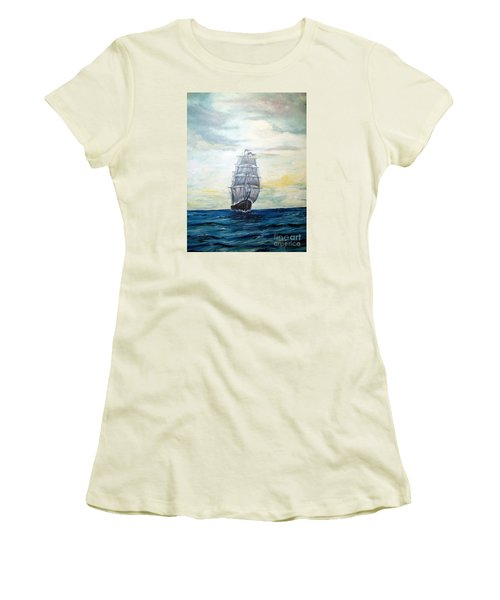 Women's T-Shirt (Junior Cut) featuring the painting Morning Light On The Atlantic by Lee Piper