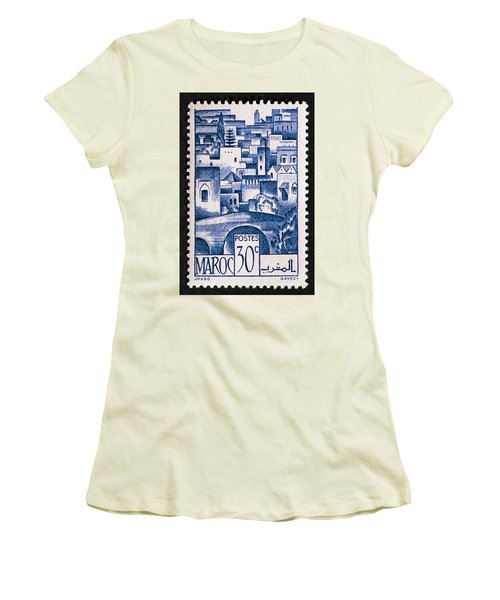 Morocco Vintage Postage Stamp Women's T-Shirt (Junior Cut) by Andy Prendy