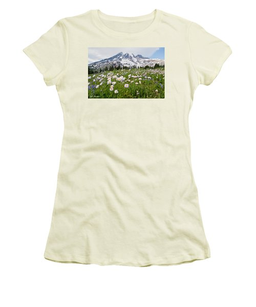 Mount Rainier And A Meadow Of Aster Women's T-Shirt (Athletic Fit)