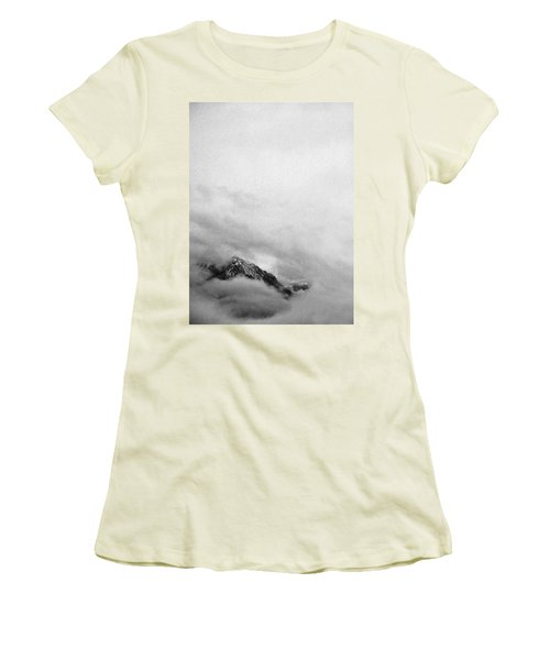 Mountain Peak In Clouds Women's T-Shirt (Junior Cut) by Peter v Quenter
